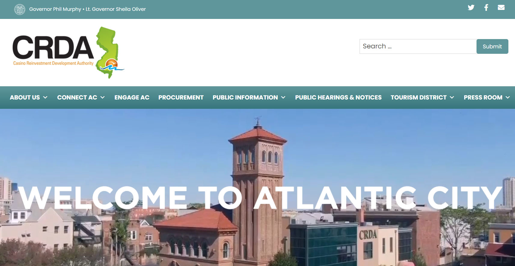 """CRDA website homepage """"Welcome to Atlantic City"""" with CRDA Firehouse building in view."""